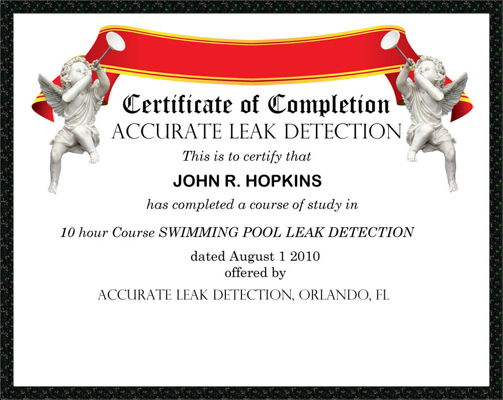 swimming pool leak detection certificate
